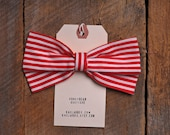 Handmade Red stripe Fabric Bow