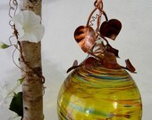 Art Glass Ball Yellow Copper Wrapped 14 inch