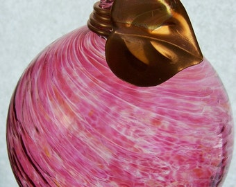 Art Glass Ball, Hand Blown Glass Balls, 6 inch Round Rose Pink Ball wrapped with Copper Vine