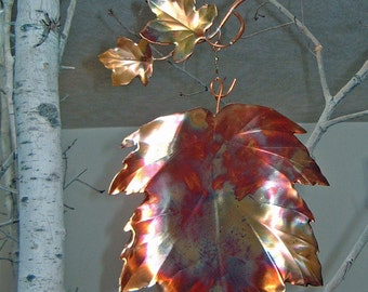 Garden Art Kinetic Energy Maple Leaf Copper Twirling Yard Art Maple Leaf Branch Copper Garden Art Yard Decor