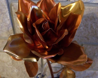 Metal Art Sculpture, Copper Rose, Full Blown Long Stem, Metal Flower Garden Art