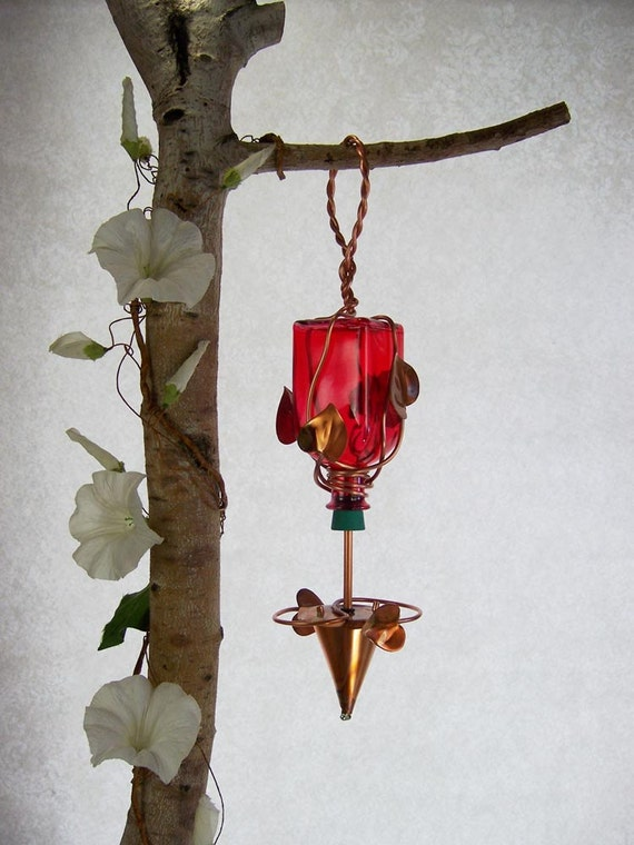 Hummingbird Feeder Red Glass Bottle Small Square Copper Wrapped