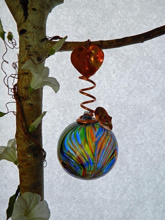Art Glass Ball in Blue Multi Colors with a Feather Design Copper Wrapped for Hanging