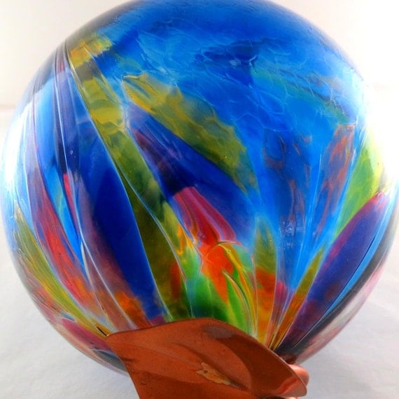 Art Nouveau Art Glass Ball in Cobalt Blue with multi-color accent design Copper Wrapped for Hanging
