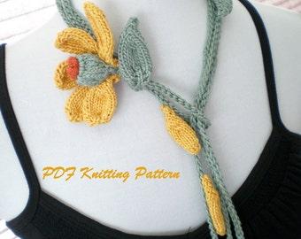PDF Knitting Pattern - He Loves Me, He Loves Me Not  Floral Lariat
