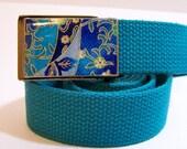 Bright Blue Flip Top Web Belt