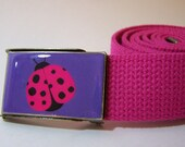 Purple and Pink Lady Bug Belt (Ready to Ship), Shown on Hot Pink Strap