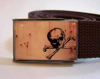 Skull Belt (Ready to Ship) shown on brown strap