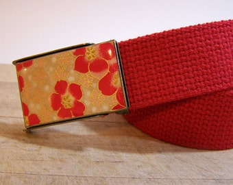 Poppy Red Belt flip top buckle (Ready to Ship) shown on red cotton adjustable strap