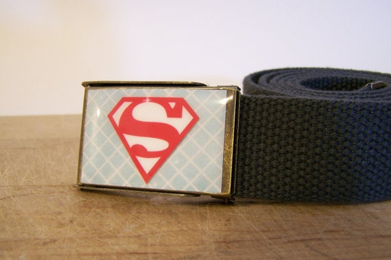 Superman Belt (Ready to Ship) shown on a charcoal strap