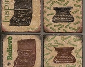 Vintage Typewriter Marble Tile Drink Coaster Set of 4 -- Inspire, Create, Believe, Dream, Corona