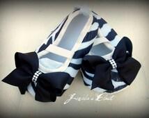 SALE: White and Black Zebra swarovski baby shoes