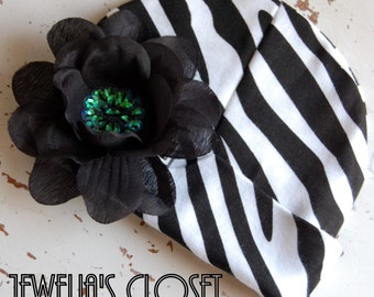Black and White Zebra Print Beanie for Infants and Toddlers- Black Rhinestone Flower is Detachable/Interchangeable