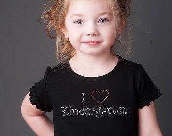 I Love Kindergarten Rhinestone Bling Shirt- FREE SHIPPING within U.S.