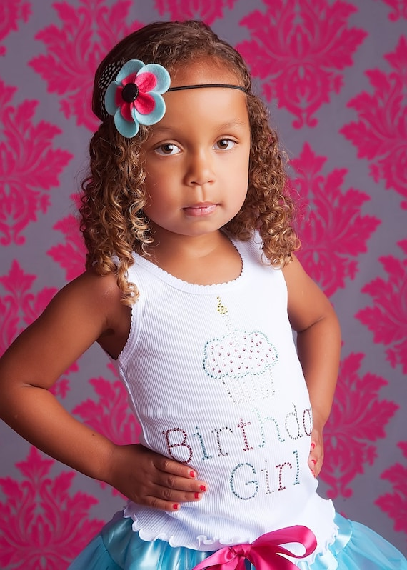 Turquoise and Pink Birthday Girl Bling Shirt MODERN- Looks great paired with a Pettiskirt or Tutu