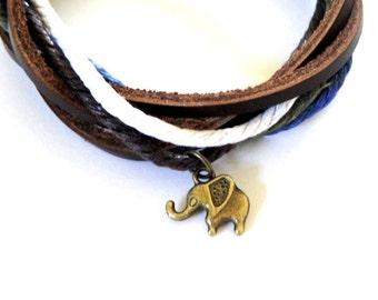 Bronze Elephant Cord Bracelet SALE