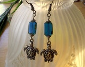 Sea Turtle Earrings - Antique Brass - Teal Picasso