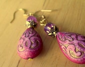 Pink Teardrop Earrings - Vintage Style Design Etching - Glass Cathedral Beads