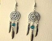 Dreamcatcher Earrings - Teal Blue /Green