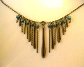 ON SALE Antique Brass V Drop Necklace / Blue Picasso and Brass Beads