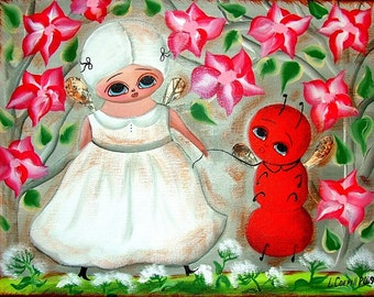 GARDEN FAIRY ANGEL ANT PET RED FLOWERS 8X10 REPRODUCTION PRINT FROM ORIGINAL PRIMITIVE FOLK ART PAINTING by Lana Coffill
