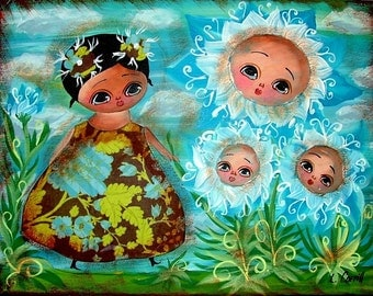 FAIRY GIRL FLOWERS 8X10 REPRODUCTION PRINT FROM ORIGINAL PRIMITIVE FOLK ART PAINTING MIXED MEDIA COLLAGE BY LANA COFFLL