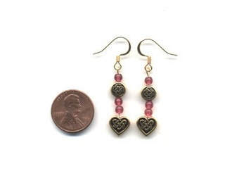 Gold and Pink Beaded Celtic / Irish Earrings - FREE SHIPPING