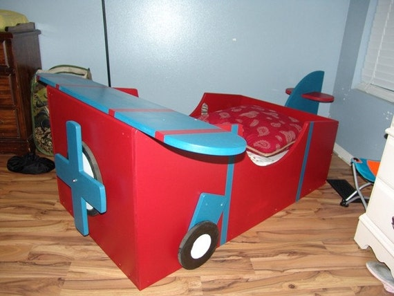 Childs airplane bed un painted for Airplane bed frame