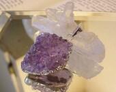 SALE Natural Brazilian Amethyst Druzy Crystal Cluster Pendant, jewelry design, supplies (11tu201)