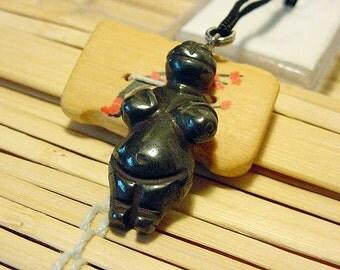 Hematite Goddess / Venus Willendorf Pendant on cord, Fertility, Birth 14t508