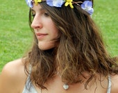 Floral Hair Wreath in Periwinkle and GoldenRod