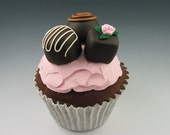 Faux Gourmet Chocolate Cupcake - Pink Icing with Truffles