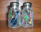 Mandolin and Music Notes Glass Salt & Pepper Shakers Hand-painted Salt and Pepper Shakers by Lisa Hayward