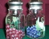 Glass Salt and Pepper Shakers Grape Salt & Pepper Shakers Hand-Painted Fruit by Lisa Hayward