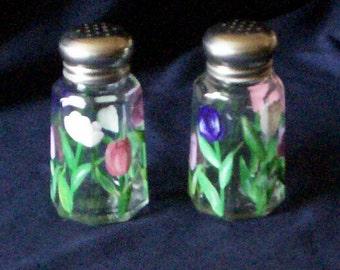 Tulip Salt and Pepper Shakers Hand-painted Pastel Tulip Glass Salt & Pepper Shakers by Lisa Hayward