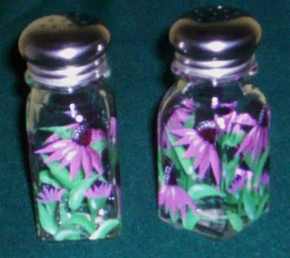 Hand-Painted Purple Coneflower Painted Glass Salt and Pepper Shakers Purple Flowers Salt & Pepper Shakers by Lisa Hayward