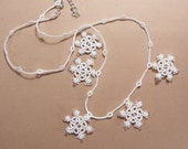 SALE 20% off Snowflake necklace  white lace  Christmas jewelry Black Friday Etsy