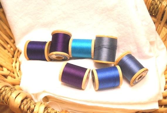Vintage Wooden Thread Spools - Purple, Blue, Set of 7