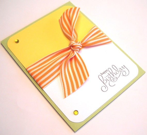 Birthday Card - Bold, Elegant Striped Ribbon