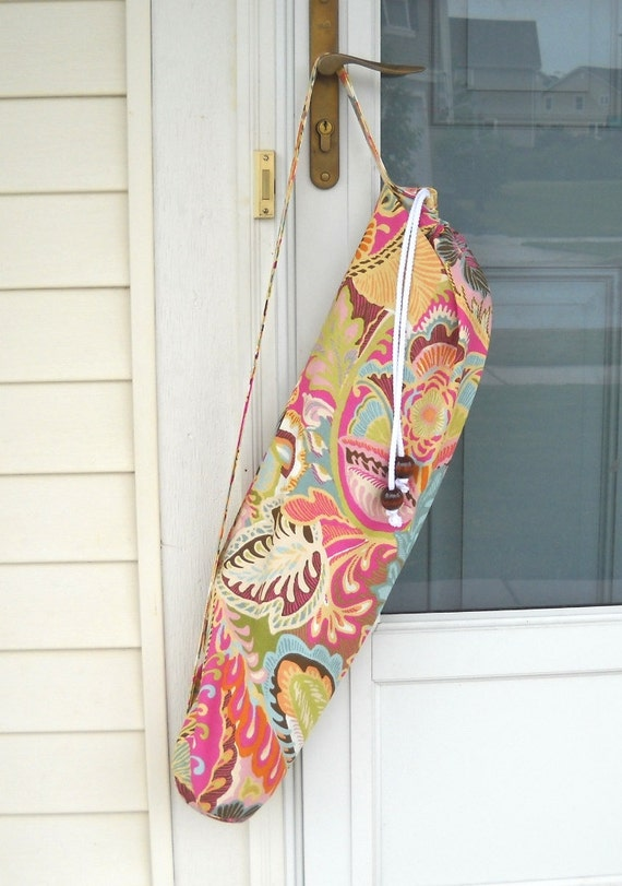 Yoga Mat Sling Bag - Heavy Cotton, Large Design, Bright Colors