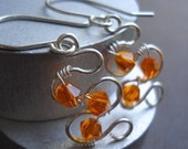 LIFE COLLECTION - Orange Crystal Sterling Silver Earrings