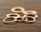 Seven stitch markers, solid copper, twisted rings for knitting (large)