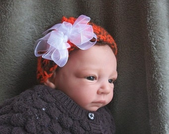 Fall and Winter...Warm....Brown and Orange Headband....White Bow...Cleveland BROWNS ....Newborn up to 3 month Girls - OOAK- Ready to Ship