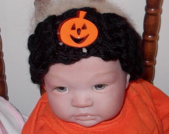 Marked Down....Fall & HALLOWEEN .... 0 to 3 month Babies...... Black Headband with Pumpkin Button..... READY to SHIP