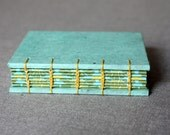 Mini Coptic Book (rustic teal cover with yellow and green accents)
