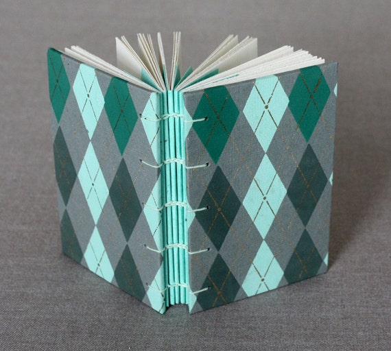 Argyle sketchbook with exposed stitching