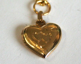 Gold colour locket Twin hearts, chain, necklace valentine love