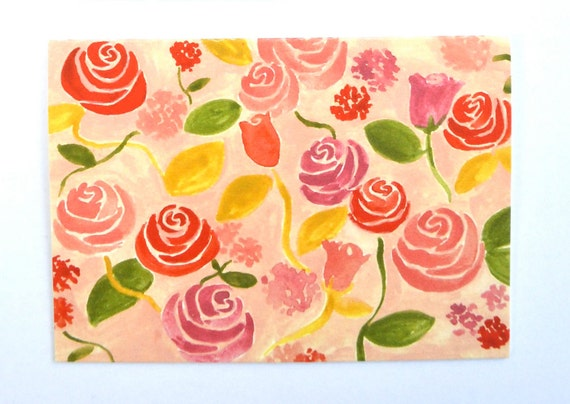 Pink Floral no.1: card & envelope