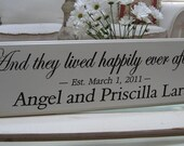 Wedding Sign...And  they lived happily ever after ... 8 x 30 Carved Personalized Family Name Sign  7R26