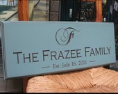 Something Blue...Carved Engraved Wedding or Family Name Sign..8x20 ...Awesome Gift